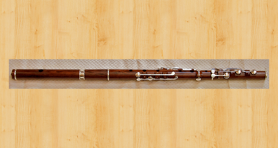 A Martin Doyle nine key flute made from cocus wood with a tuning slide. (Unfortunately cocus wood is no longer available.)