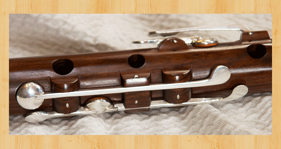 Mounting block and key-work detail on the Martin Doyle nine key flute.