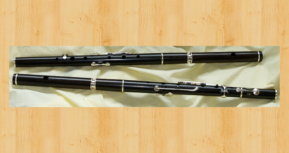 Two Martin Doyle keyed flutes (three and six key) made from African blackwood.