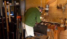 Martin Doyle working at the wood turning lathe.
