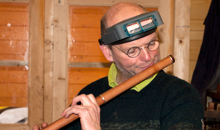 Martin Doyle testing a newly finished traditional style flute.