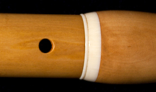 The first and second tenons on a Martin Doyle Baroque flute made of boxwood.